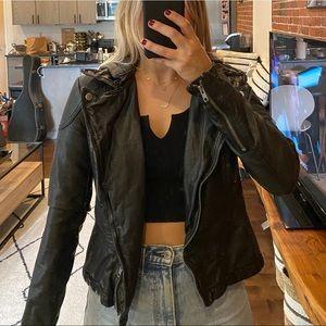 Free People Leather Jacket with Hood